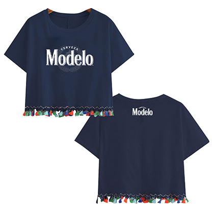 Modelo Women's Navy Blue Fringe T-Shirt