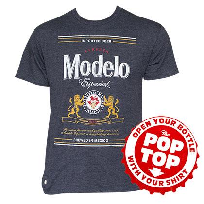 Men's Cotton Blend Modelo Text Label Pop Top Bottle Opener T-Shirt