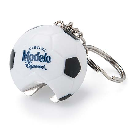 Modelo Beer Soccer Ball Bottle Opener Keychain