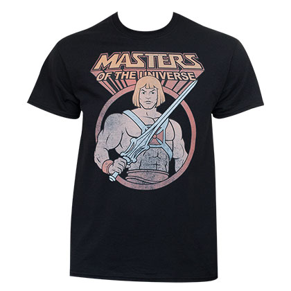 He-Man Masters Of The Universe Men's Vintage Black T-Shirt