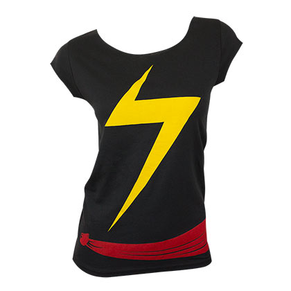 Ms Marvel Black Ladies Costume T-Shirt