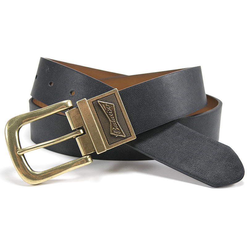 Budweiser Authentic Gold Buckle Reversible Belt