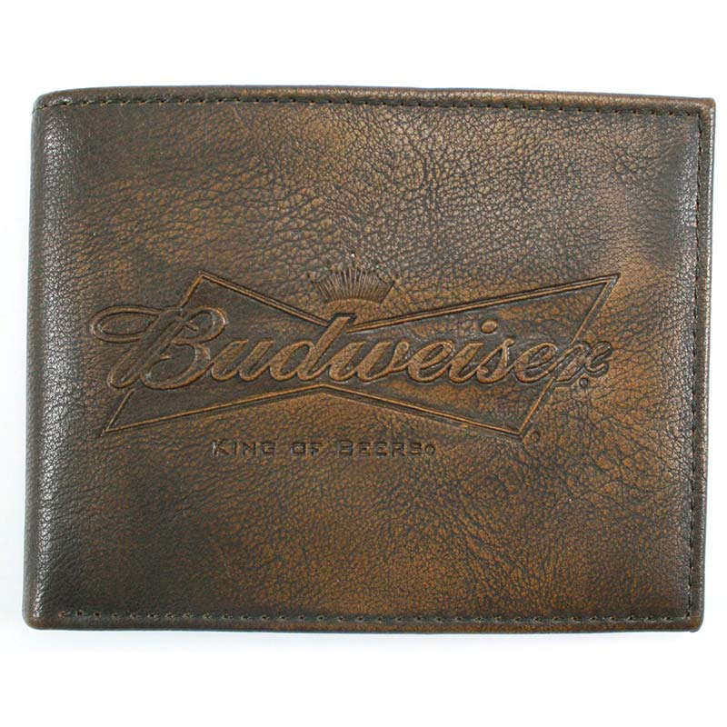Budweiser Leather Embossed Logo Bifold Wallet