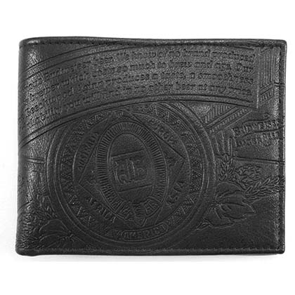 Budweiser Leather Embossed Logo Black Bifold Wallet
