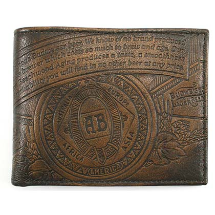Budweiser Leather Embossed Logo Brown Bifold Wallet