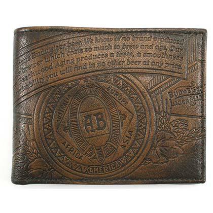 Budweiser Leather Embossed Logo Brown Bifold Wallet