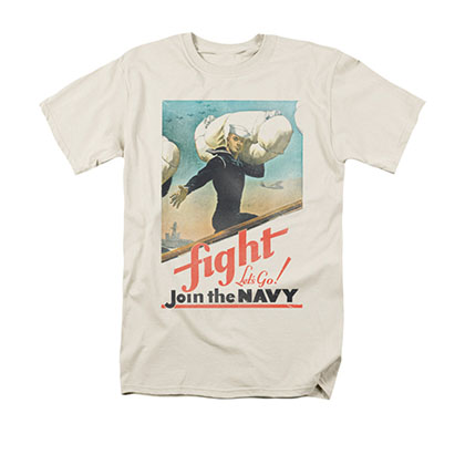 US Navy Fight Let's Go Cream T-Shirt