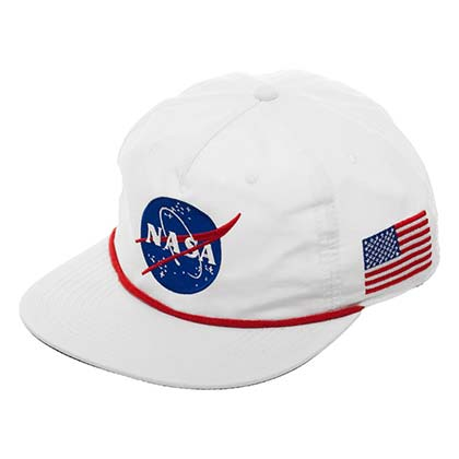 NASA USA Flag Space Snapback White Hat
