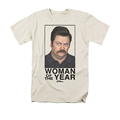 Parks & Recreation Men's Cream Woman Of The Year Tee Shirt
