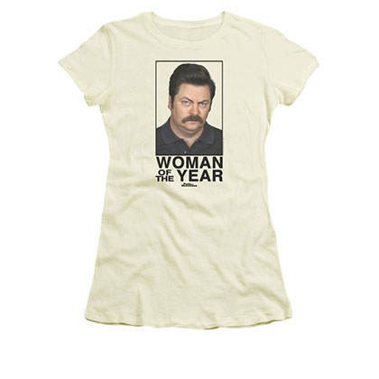 Parks And Recreation Woman Of The Year Cream Juniors Tee Shirt