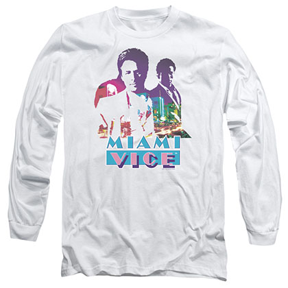 Miami Vice Crockett And Tubbs White Long Sleeve T-Shirt