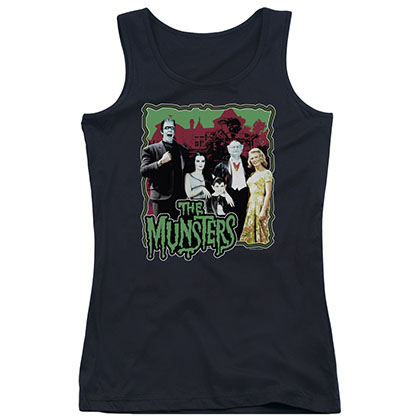Munsters Normal Family Black Juniors Tank Top
