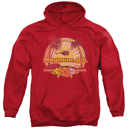 Magnum Pi Hawaiian Sunset Red Pullover Hoodie