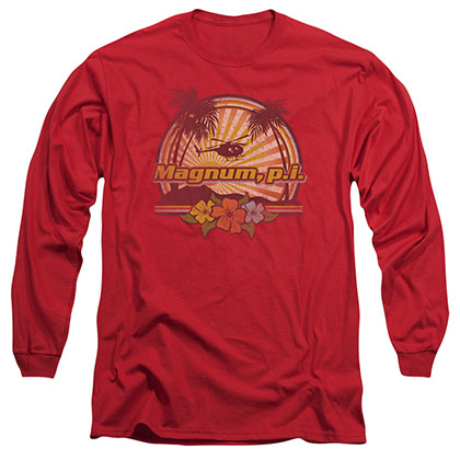 Magnum Pi Hawaiian Sunset Red Long Sleeve T-Shirt