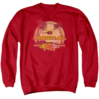 Magnum Pi Hawaiian Sunset Red Crew Neck Sweatshirt