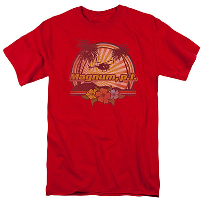 Magnum Pi Hawaiian Sunset Red T-Shirt