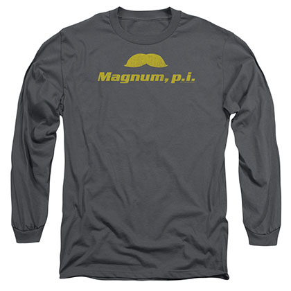 Magnum Pi The Stache Gray Long Sleeve T-Shirt