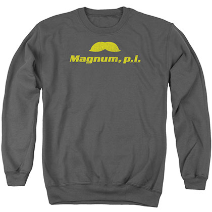 Magnum Pi The Stache Gray Crew Neck Sweatshirt