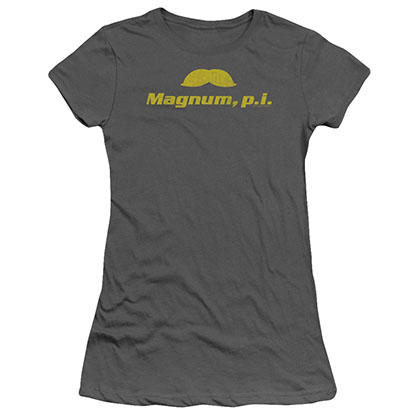 Magnum Pi The Stache Gray Juniors T-Shirt