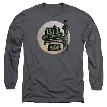 The Munsters Moonlit Address Gray Long Sleeve T-Shirt