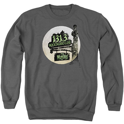 The Munsters Moonlit Address Gray Crew Neck Sweatshirt