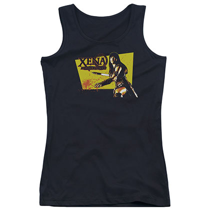 Xena Cut Up Black Juniors Tank Top