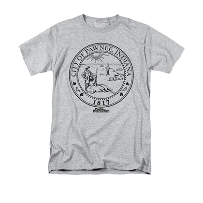 Parks & Recreation Men's Gray City Of Pawnee Seal Tee Shirt