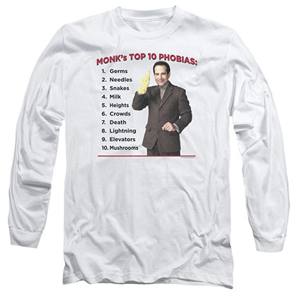 Monk Top 10 Phobias White Long Sleeve T-Shirt