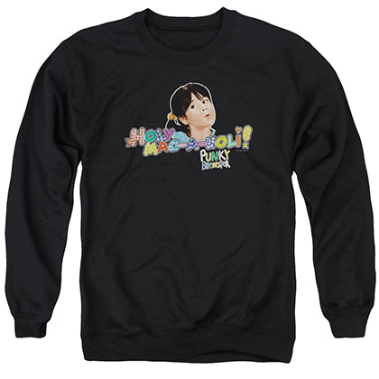 Punky Brewster Holy Mac A Noli Black Crew Neck Sweatshirt