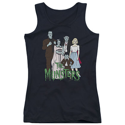The Munsters The Family Black Juniors Tank Top