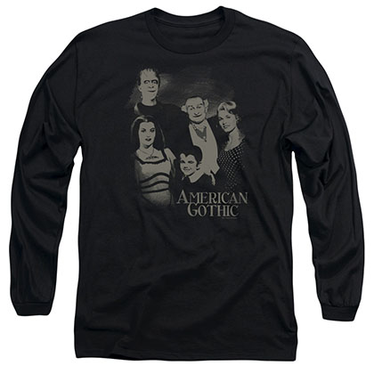 The Munsters American Gothic Black Long Sleeve T-Shirt
