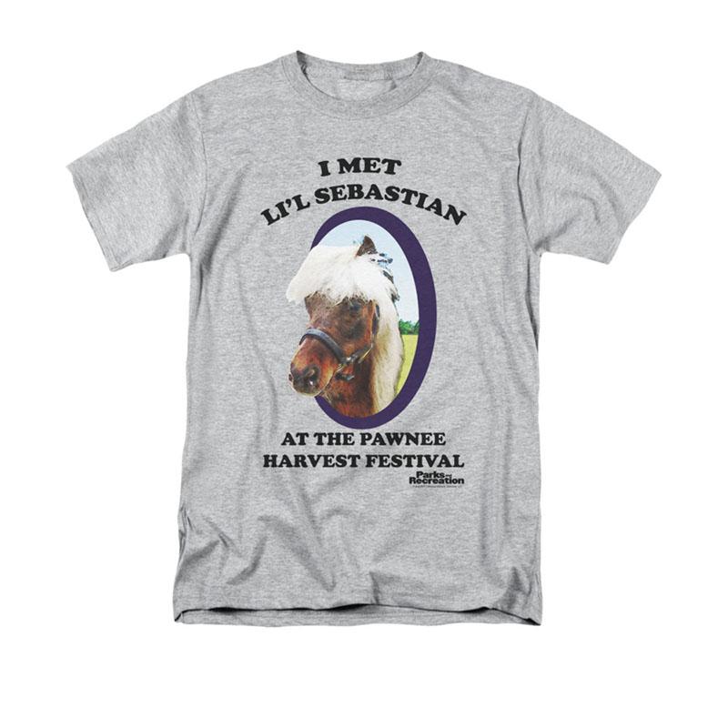 e27302c3161 Parks   Recreation I Met Li l Sebastian Gray T-Shirt