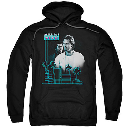 Miami Vice Looking Out Black Pullover Hoodie