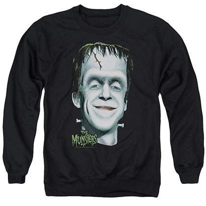 The Munsters Herman'S Head Black Crew Neck Sweatshirt