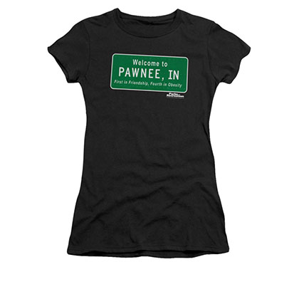 Parks & Recreation Juniors Black Welcome To Pawnee T-Shirt