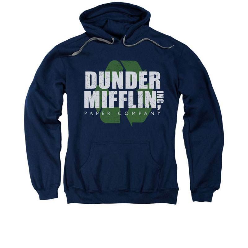 The Office Dunder Mifflin Recycle Blue Pullover Hoodie