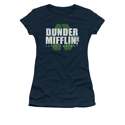 The Office Dunder Mifflin Recycle Blue Juniors T-Shirt
