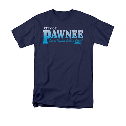 Parks & Recreation Men's Blue City Of Pawnee Tee Shirt