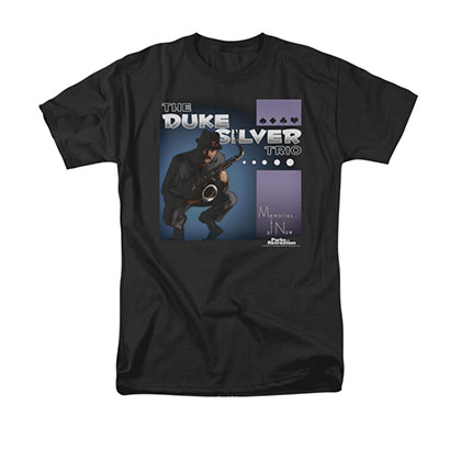 Parks & Recreation Duke Silver Album Cover Black Tee Shirt