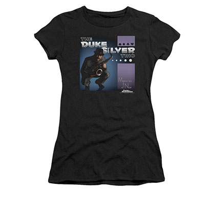 Parks And Recreation Juniors Black Duke Silver Album Tee Shirt