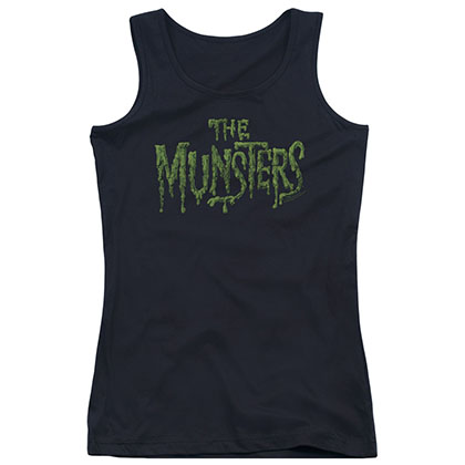 Munsters Distress Logo Black Juniors Tank Top