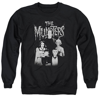 Munsters Family Portrait Black Crew Neck Sweatshirt