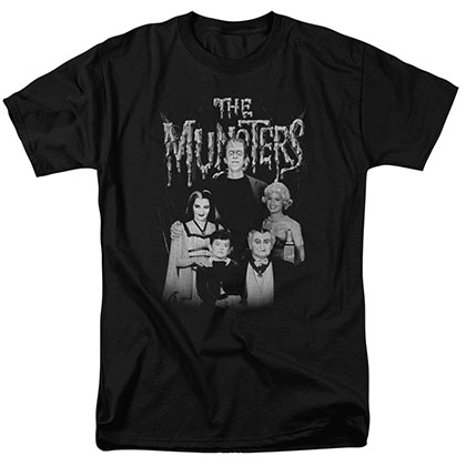 Munsters Family Portrait Black T-Shirt