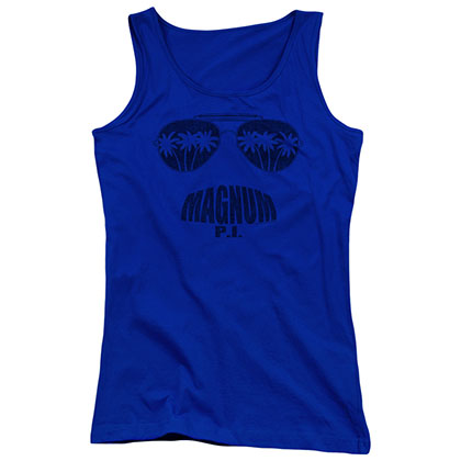 Magnum Pi Face It Blue Juniors Tank Top