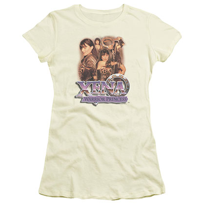 Xena Princess Collage Beige Juniors T-Shirt
