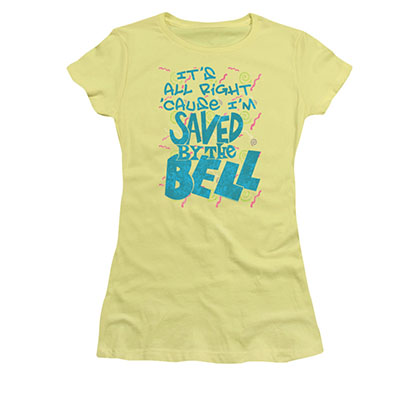 Saved By The Bell All Right Yellow Juniors T-Shirt