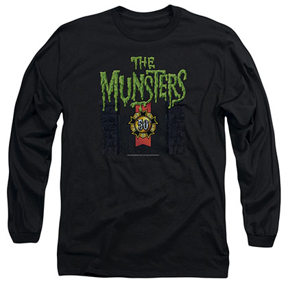 Munsters 50 Year Logo Black Long Sleeve T-Shirt
