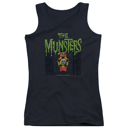 Munsters 50 Year Logo Black Juniors Tank Top