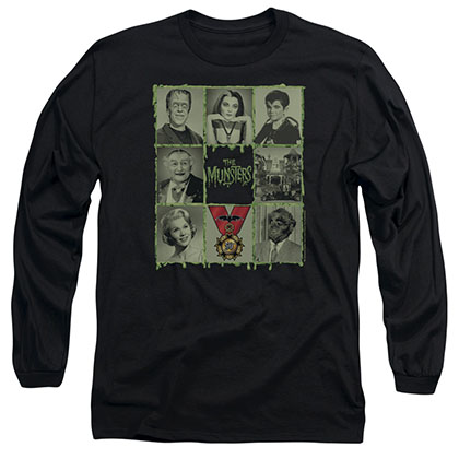 Munsters Blocks Black Long Sleeve T-Shirt