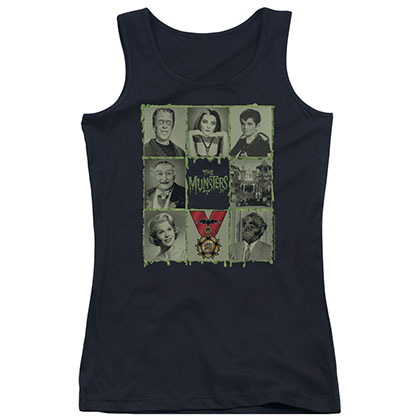 Munsters Blocks Black Juniors Tank Top